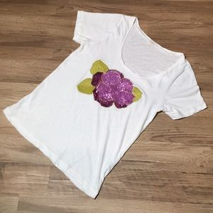 J Crew sequin flower tee, white with pink, sz L